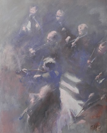 "Michael Alford STRING SECTION 1 Oil on board/canvas 30"" x 20"""