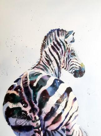 "Jake Winkle THE FULLER ZEBRA Watercolour 28"" X 20"""