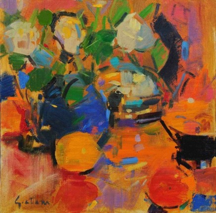 """Peter Graham WHITE ROSES IN A BLUE JUG Oil 16"""" X 16"""""""