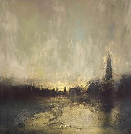 Barry Wilson  TOWER BRIDGE AT DUSK  Acrylic and Gold Leaf on Canvas  60 x 60cm