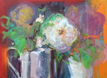 "Jo Ellis  FLORAL STILL LIFE  Mixed media and acrylic on canvas board  14"" x 21"""