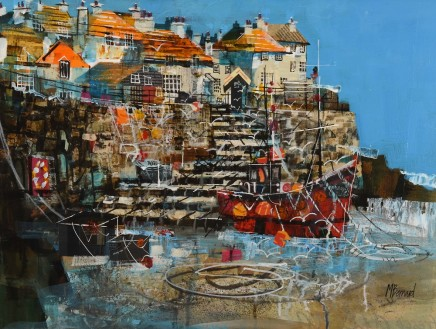 "Mike Bernard STEPS TO THE BEACH, COVERACK Mixed Media 18"" X 24"""