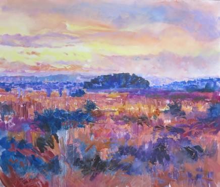 "Maureen Davies FOREST SUNSET Oil on Canvas 27"" X 24"""