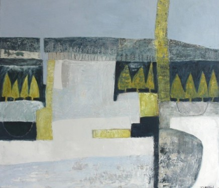 "Teresa Lawton THE FROZEN FOREST Oil on canvas 12"" X 14"""