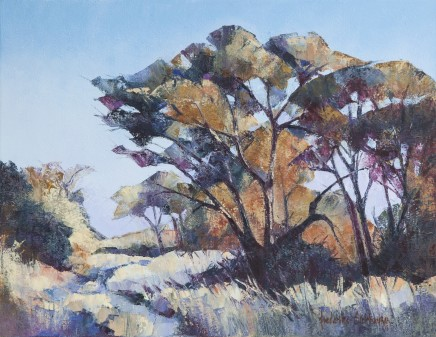 "Frederike Stokhuyzen  BUSHVELD TREES, NAMIBIA  Oil on canvas  16"" X 20.5"""
