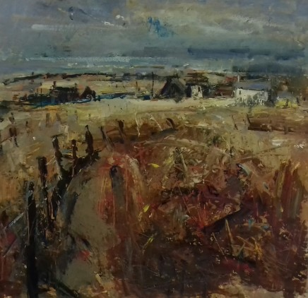 """Gareth Parry COTTAGES BY THE SEA Oil on board under non-reflective glass 24"""" x 24"""""""