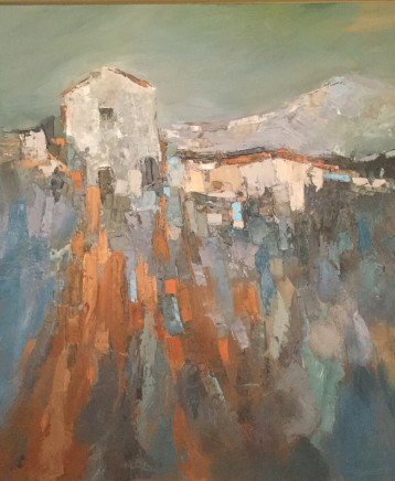 "Elsa Taylor  MOUNTAIN HOUSE  Oil on board  32"" x 32"""