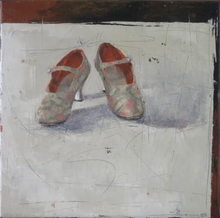 """Ann Armitage ANTIQUE SHOES Oil on linen 16"""" x 16"""""""