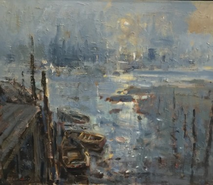 """Gareth Parry QUIET MORNING, OLD DOCKS AND INDUSTRY Oil on canvas 20""""X24"""""""