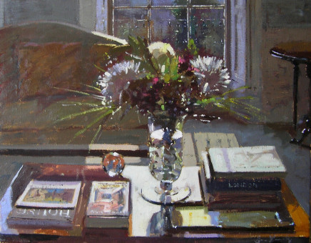 Bruce Yardley  COFFEE TABLE, FLOWERS AND BOOKS  Oil  41 X 51cm