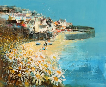 "Mike Bernard CRAIL HARBOUR, EARLY SUMMER Mixed Media 18"" x 22"""