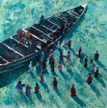 """Patrick Gibbs FISHING BOAT, TANJI, GAMBIA Acrylic on Board 31"""" X 31"""""""