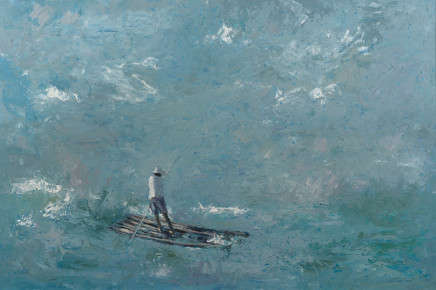 "Patrick Gibbs  FISHERMEN ON A RAFT, BRAZIL  Oil  36"" X 54"""