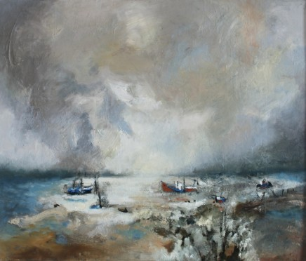"Teresa Lawton  THE HARBOUR  Oil on canvas  10"" x 12"""