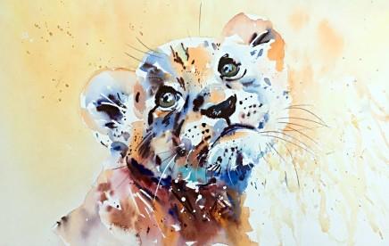 "Jake Winkle LION CUB Watercolour 18"" X 13"""