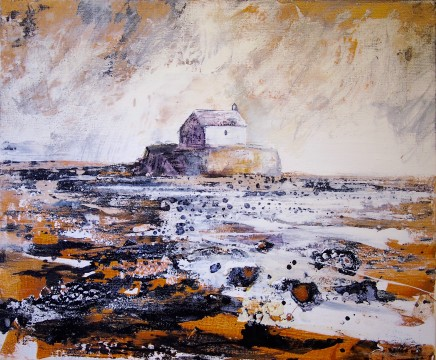 "Peter Kettle  ST. CWYFAN'S CHURCH, ANGLESEY  Watercolour, Oil, Acrylic, Ink  20"" X 24"""