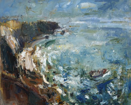 """Gareth Parry SUMMER SEA; LOBSTER FISHERMAN Oil on canvas 30""""X24"""""""