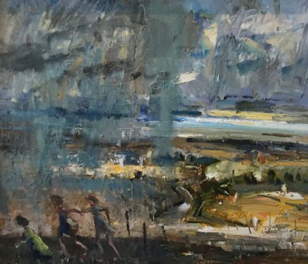 """Gareth Parry CAUGHT IN THE RAIN Oil on canvas 20""""X24"""""""