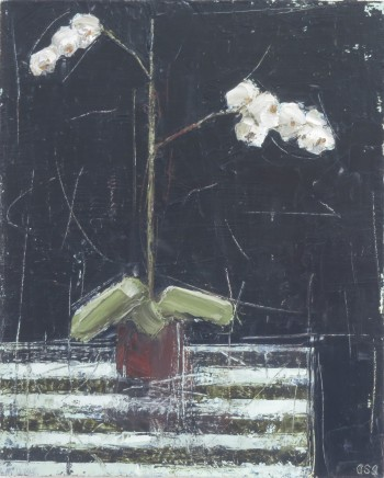 """Ann Armitage ORCHID AND STRIPE Oil on board 9"""" x 7"""""""