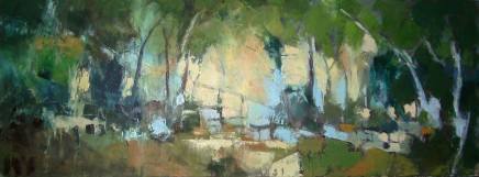 "Carol Sproston  THE BLUE HOUR  Oil on canvas  31.5"" X 12"""