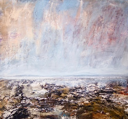 "Peter Kettle  HARLECH BEACH  Watercolour, Oil, Acrylic, Ink  31.5"" X 31.5"""