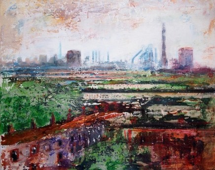 "Peter Kettle  PORT TALBOT MAY  Plaster, Oil, Acrylic, Watercolour Ink  20"" x 16"""