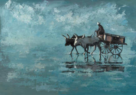 "Patrick Gibbs  OXEN AND CART, MADAGASCAR  Oil  30"" X 43"""