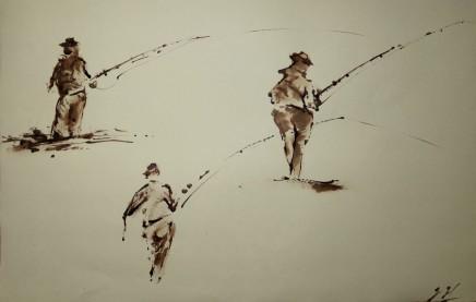 "Jeremy Hammick FISHERMEN Sepia Ink 20"" X 13"""
