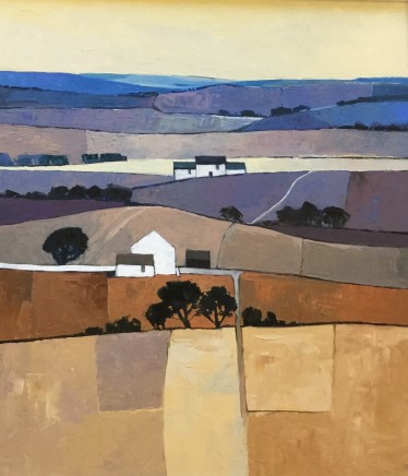 Mary Pym  ROLLING FARMLAND  Oil on board  61 X 56cm