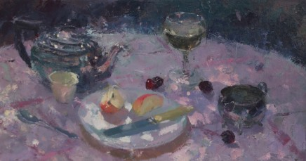 "Jacqueline Williams  OUTDOOR STILL LIFE WITH CHERRIES  Oil on canvas  10"" x 19"""