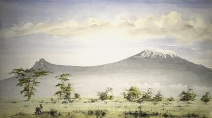 "Jeremy Hammick ZEBRA KILIMANJARO Watercolour 17"" X 30"""