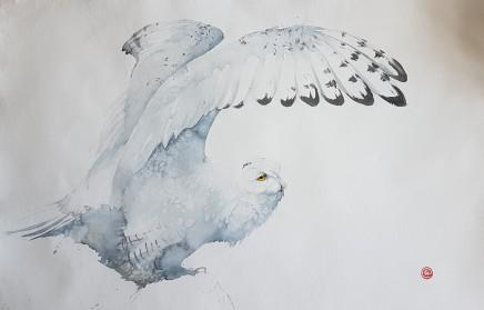 """Karl Martens  SNOWY OWL (UNFRAMED)  Watercolour  43"""" x 63"""""""