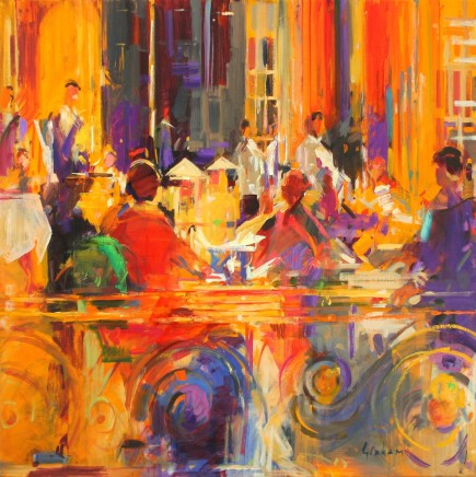 "Peter Graham  AT THE WALDORF TABLE  Oil on canvas  34"" x 34"""