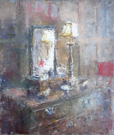 "Gerald Green  DRESSING TABLE REFLECTIONS  Oil  14"" X 12"""
