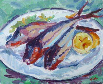 "Fi Katzler PROVENCAL GURNARD Oil on canvas 13"" x 16"""