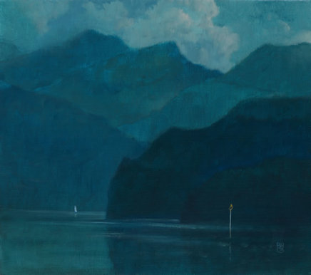 "Michael Bennallack Hart LAKE COMO Oil on canvas 16"" x 18"""