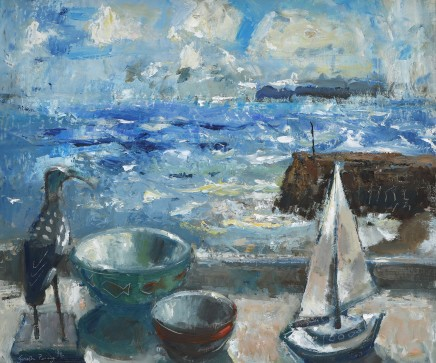 """Gareth Parry WINDOW BY THE SEA , THE WOODEN BIRD Oil on canvas 20""""X24"""""""