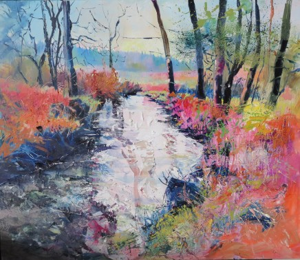 """Maureen Davies FOREST BROOK IN AUTUMN COLOURS Oil on Canvas 27"""" x 24"""""""