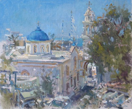 John Martin  MEGALACHORI, SANTORINI  Oil on board  26 x 30cm
