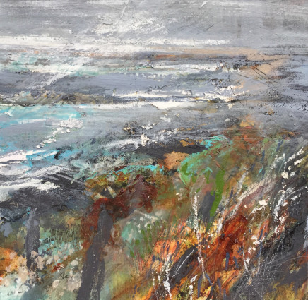 "Jo Ellis  SEA SKY LAND MERGE - PEMBROKESHIRE  Mixed media on paper  13"" x 13"""