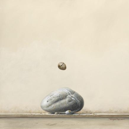 """Bryan Hanlon BOULDER AND GULLS EGGS Acrylic on board 24"""" x 24"""""""