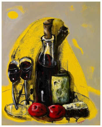 "Chris Gollon  STILL LIFE WITH WINE, CHEESE AND FRUIT  Acrylic on canvas  30"" x 24"""