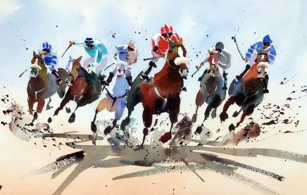 """Jake Winkle HORSE POWER Watercolour 13"""" X 18"""""""