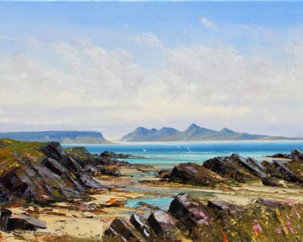 "John Bathgate EIGG AND RUM FROM ARISAIG Oil 16"" x 20"""