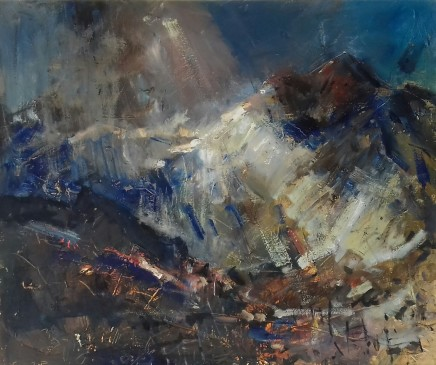 "Gareth Parry SUN, MIST AND RAIN, SNOWDONIA Oil on 20""X24"""