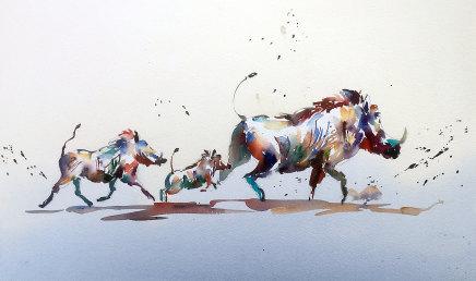 """Jake Winkle WANDERING WARTHOGS Watercolour 13"""" x 18"""""""