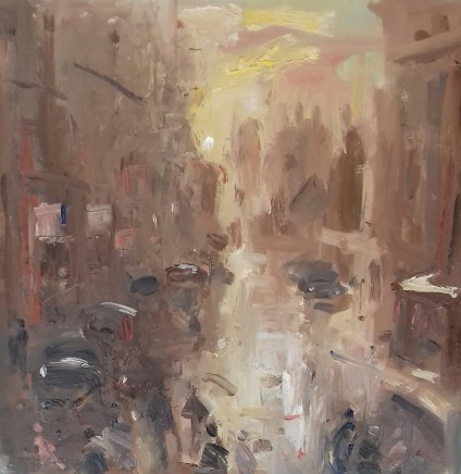 """Gareth Parry WET STREET, AFTERNOON Oil on canvas 16""""X16"""""""