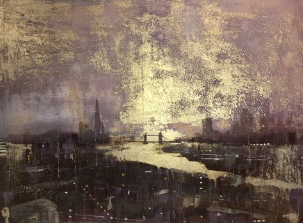 Barry Wilson  THAMES GOLDEN AURA  Acrylic/Oil and Gold Leaf on Canvas  80 x 60cm
