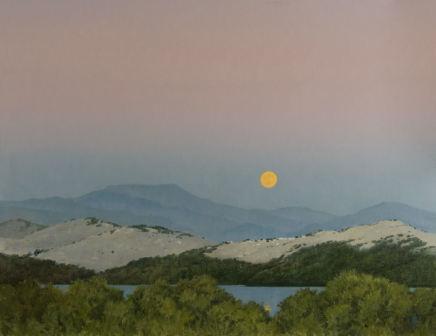 "Michael Bennallack Hart MOONRISE CORFU Oil on canvas 26"" x 34"""