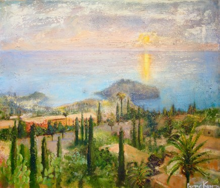 Peter Kettle  SUNSET OVER MAZZARO/ISOLA BELLA, SICILY, TAORMINA  Mixed Media on canvas  72 X 62cm